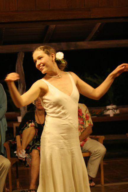 Dancing hula at my wedding, thedreamstress.com