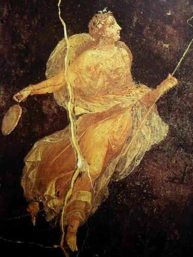 Maenad in silk dress