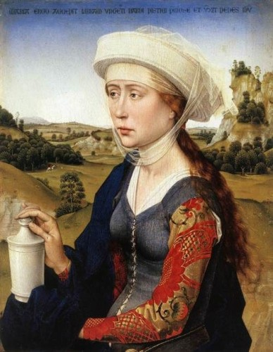 Mary Magdalene from the Braque Family Triptych (right panel), ca. 1450, by Rogier van der Weyden (early Flemish, 1399:1400-1464)