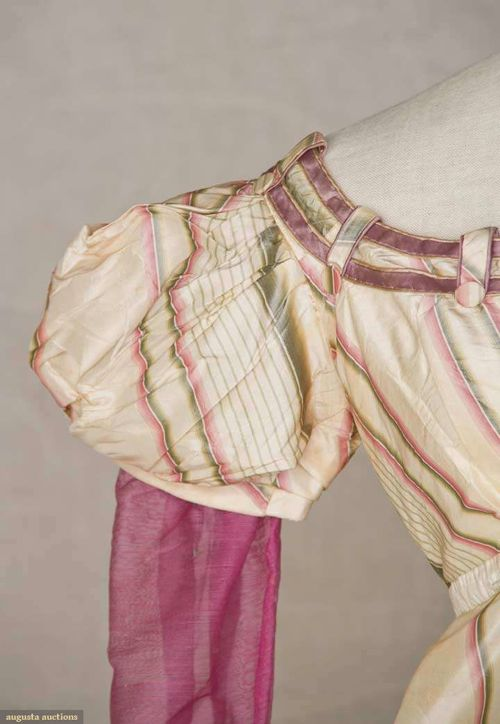 Evening gown of striped silk taffeta with wool sleeves, English, early 1820s, Augusta Auctions