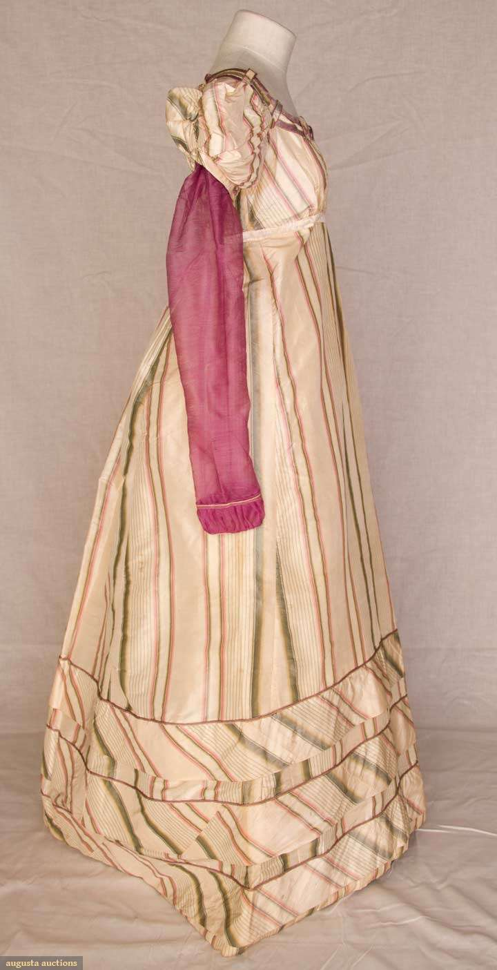 Evening gown of striped silk taffeta with wool sleeves, early 1820s, Augusta Auctions
