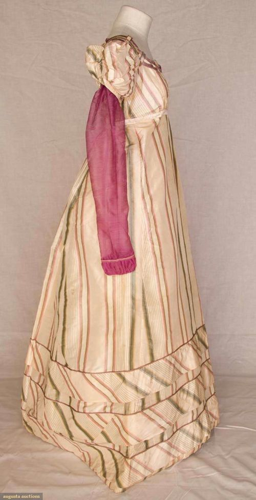 Evening gown of striped silk taffeta with wool sleeves, English, early 1820s, Augusta Auctions gown of striped silk taffeta with wool sleeves, early 1820s, Augusta AuctionsEvening gown of striped silk taffeta with wool sleeves, English, early 1820s, Augusta Auctions