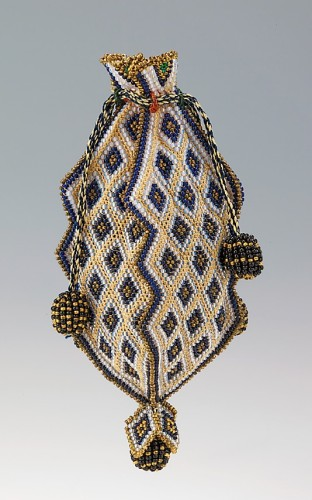 Reticule, 1818–30, Mexican, glass, silk, Metropolitan Museum of Art 2009.300.1902
