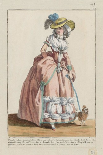 Gallerie des Modes et Costumes Français.  'L'aimable Constance', Designed by François Louis Joseph Watteau, French (Valenciennes), 1758–1823, 1784, MFA Boston 44.1587