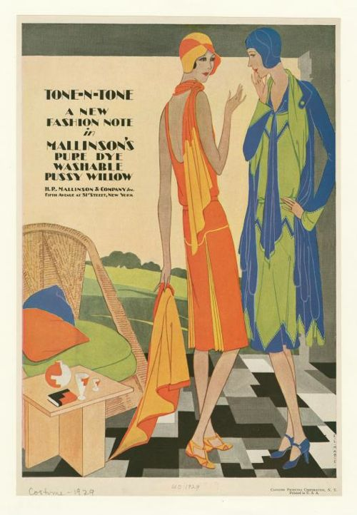 Tone-n-tone - a new fashion note in Mallinson's pure dye washable pussy willow 1929 from the New York Public Library
