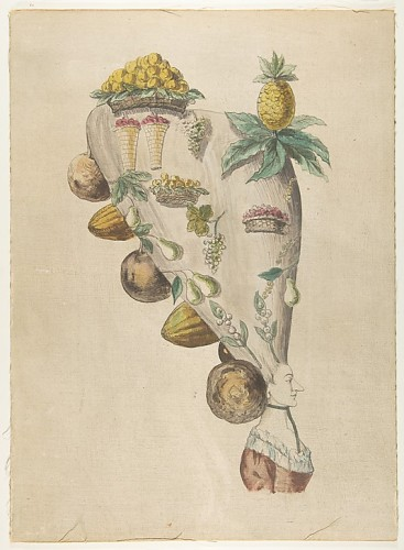 Fantastic Hairdresses with Fruit and Vegetable Motifs Anonymous, French, 18th century, Metropolitan Museum of Art