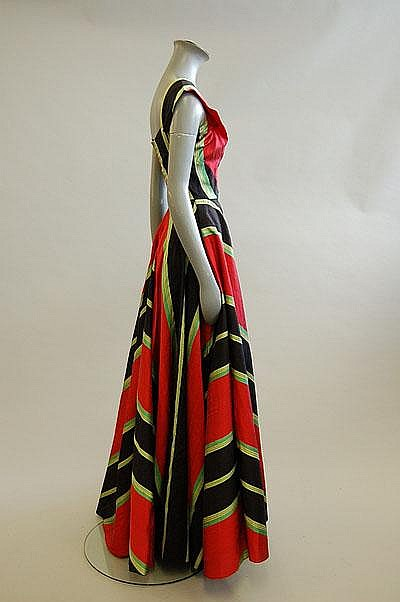 A Madame Grès boldy striped slubbed silk ball gown, 1953, sold by Kerry Taylor Auctions