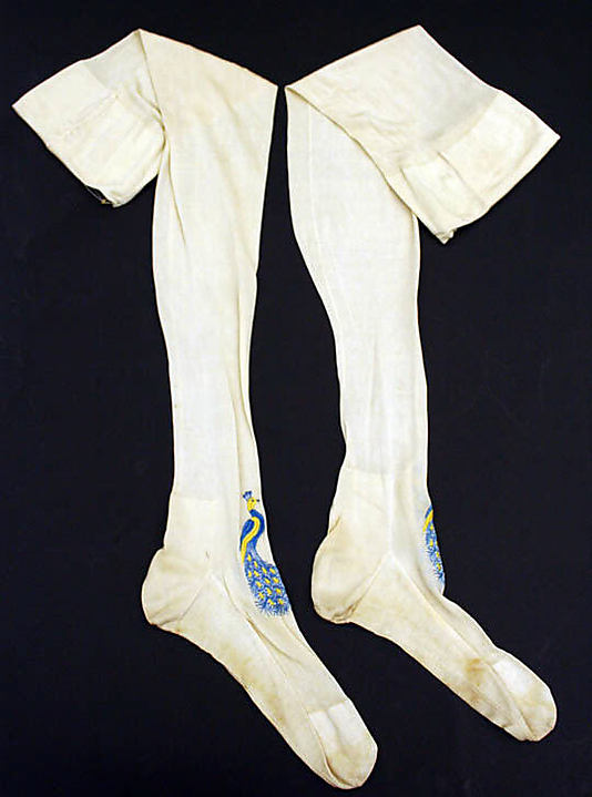 Stockings,1875–99, silk and cotton, French,  Metropolitan Museum of Art, 1986.64.2ab