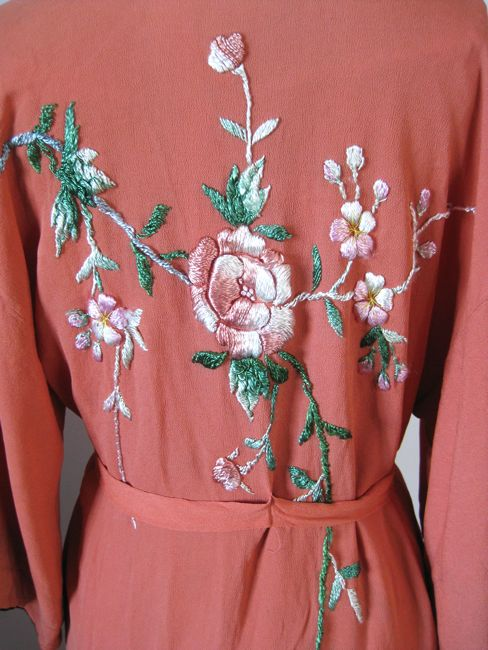 1930s rayon crepe robe with rayon embroidery thdreamstress.com
