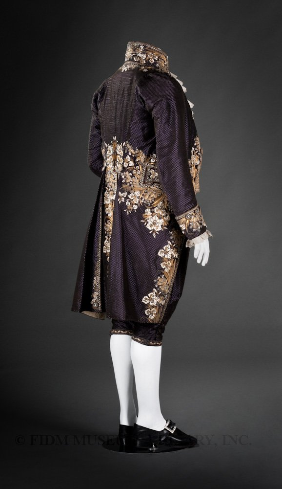 Court suit worn by Johann Hummel, Uncut voided silk velvet, silk faille, silk embroidery floss, gold & silver embroidery purl & frieze, rhinestone & metal sequins c. 1810-14 Paris, France, FIDM Museum, 2008.947.2A-C