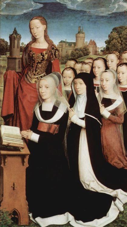 Hans Memling. Triptych of Willem Moreel, donor portraits 1484, Öl auf Holz, 121 × 69 cm. Brügge, Groeningemuseum.