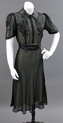 c. 1939 Black silk chiffon dress with cire satin collar and rose appliques on the bodice and sleeves, via Past Perfect Vintage