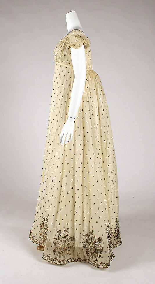Evening dress, ca. 1810, French, cotton, metallic thread, Metropolitan Museum of Art, 1976.137.1