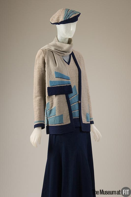 Sportswear ensemble of blue, grey and turquoise wool knit and navy wool crepe, c. 1927, France, Museum at FIT, 2009.15.7