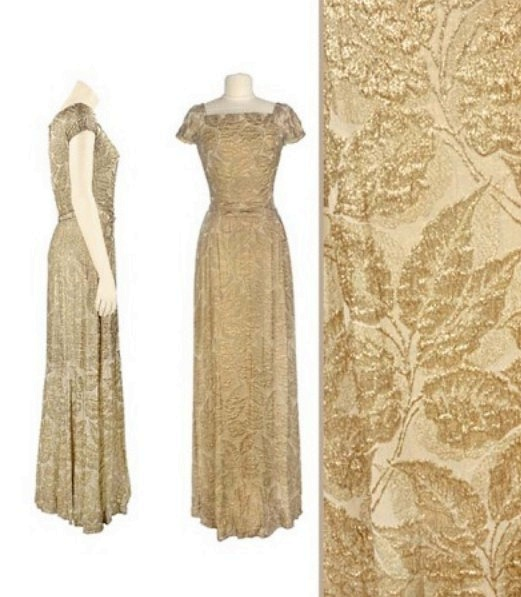 Gown of gold lamé matelassé, Mainbocher, mid 1940s.