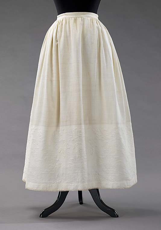 Petticoat, 1865–69, American, cotton with cotton matelasse, Metropolitan Museum of Art, 2009.300.3234