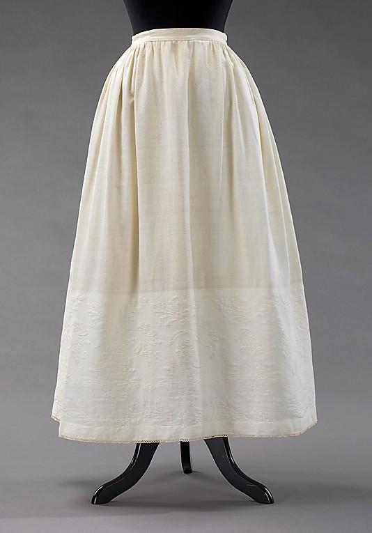 Petticoat, 1865–69, American, cotton with cotton matelasse, Metropolitan Museum of Art, 2009.300.3234