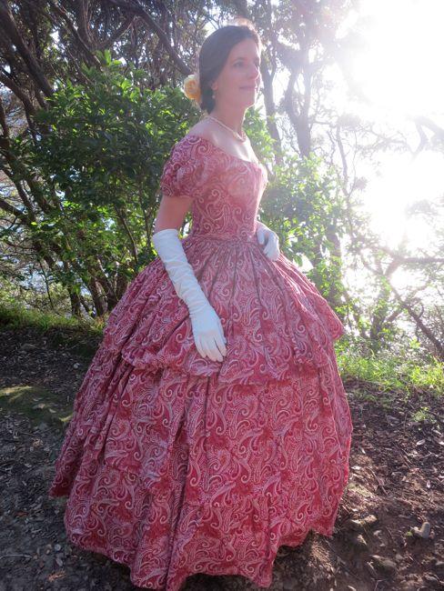 1850s raspberry swirl ball dress thedreamstress.com
