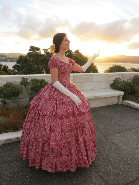 1850s Raspberry swirl gown thedreamstress.com