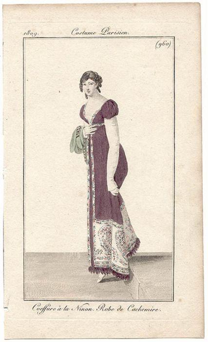 Coiffure à la Ninon - Robe de Cachemire,  Journal des Dames et des Modes 1809
