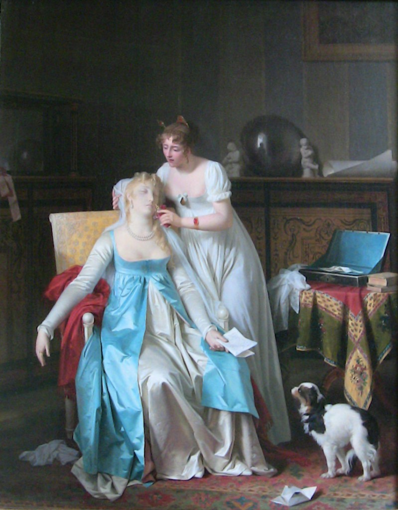 'La mauvaise nouvelle' (Bad News) (1804) by Marguerite Gérard (1761-1837). Oil on canvas. Musée du Louvre, Paris, France