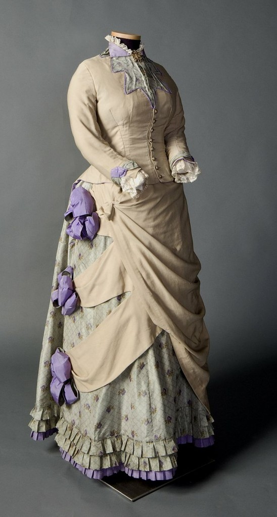 Two piece day ensemble in beige, pale green, and purple, ca. 1882-1885, Smith College Historic Clothing Collection, 2008.6.1