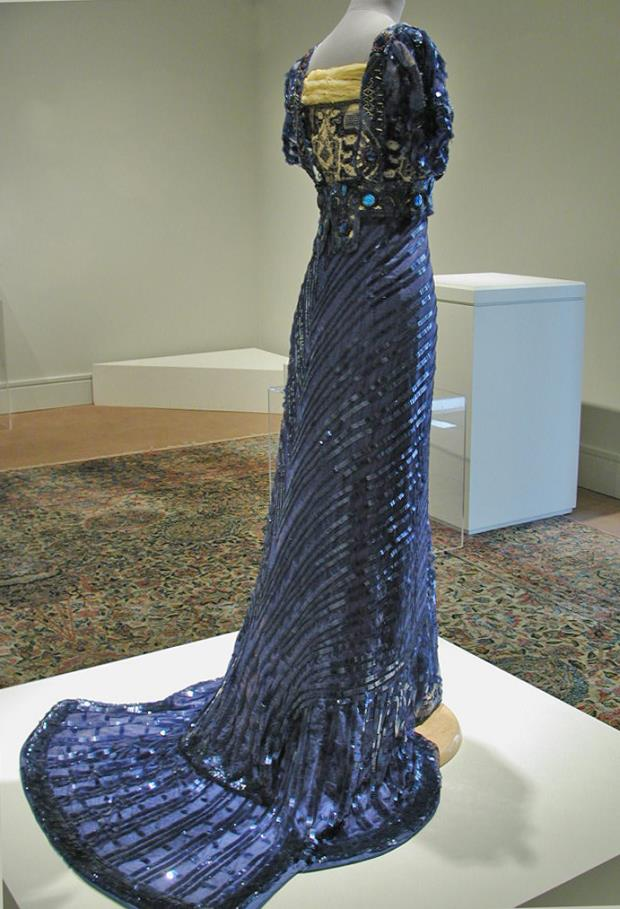 Evening Dress, 1909, Callot Soeurs, Paris, Silk mesh embellished with celluloid sequins and paste gems, Gregg Museum of Art & Design, 2003.014.208