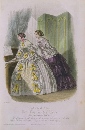 Fashion plate, from the Petit Courrier des Dames, July 1855, V&A