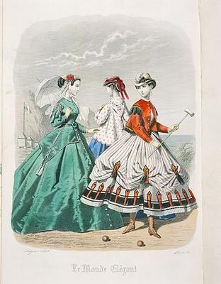 Fashion plate showing a croquet ensemble, 1860s