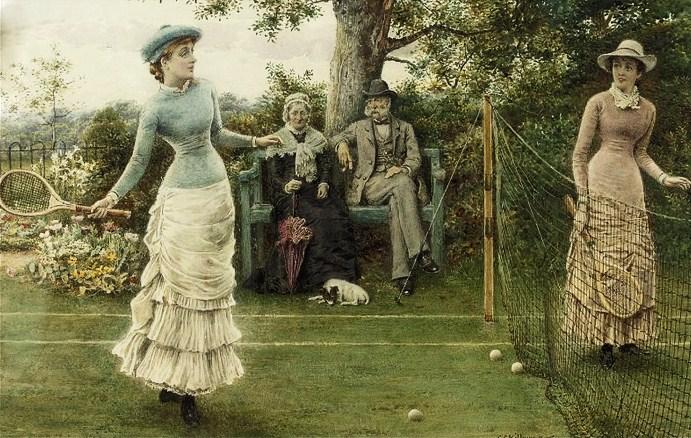 George Goodwin Kilburne (English painter, 1839-1924) A Game of Tennis
