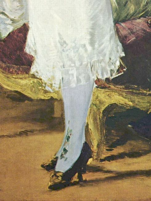 Manet Nana 1877 - detail of stockings