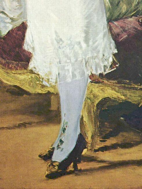 Manet Nana 1877 - detail of stockings
