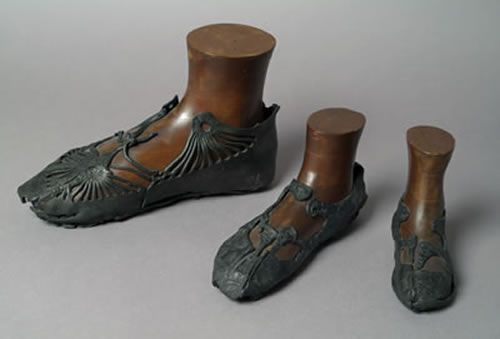 Shoes, Roman, 139-141 A.D, discovered during archaeological excavations at Bar Hill Fort on the Antonine Wall