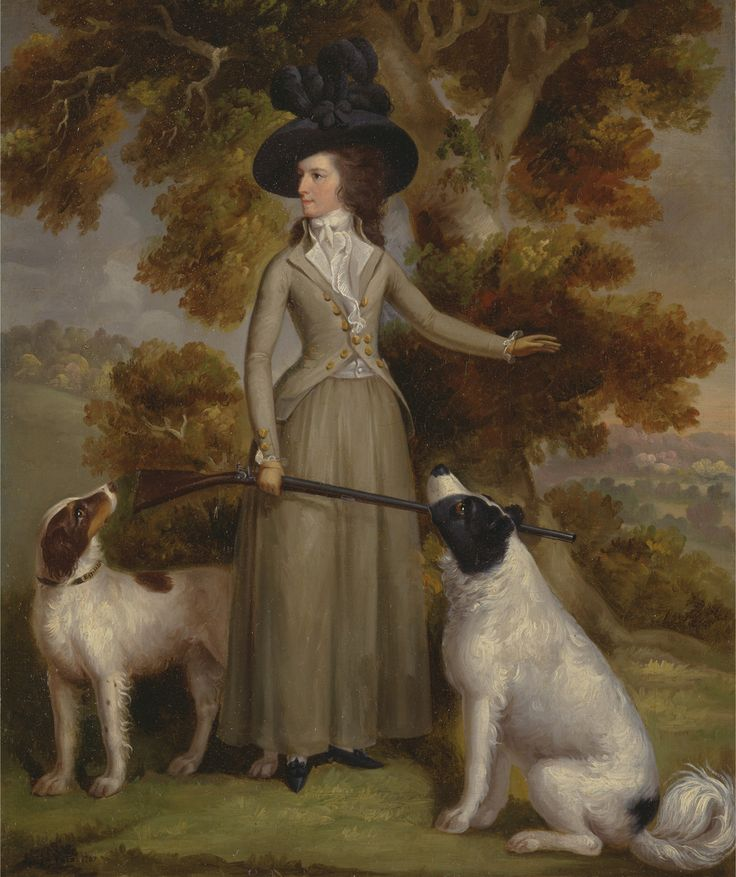 The Countess of Effingham with Gun and Shooting Dogs by George Haugh 1787
