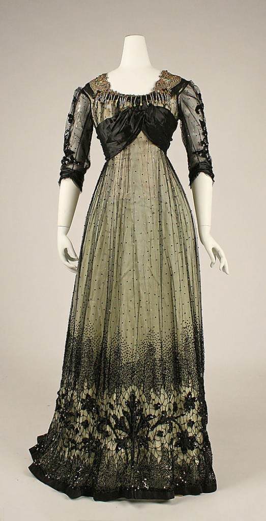 Ball gown, ca. 1908, American, silk, cotton, glass, metallic thread, Metropolitan Museum of Art, 1979.326