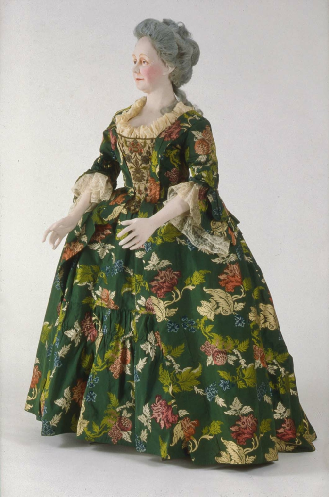 Dress (robe a la anglaise)  about 1735, restyled 1763, Silk; brocaded plain weave   1990.513a-b, MFA Boston