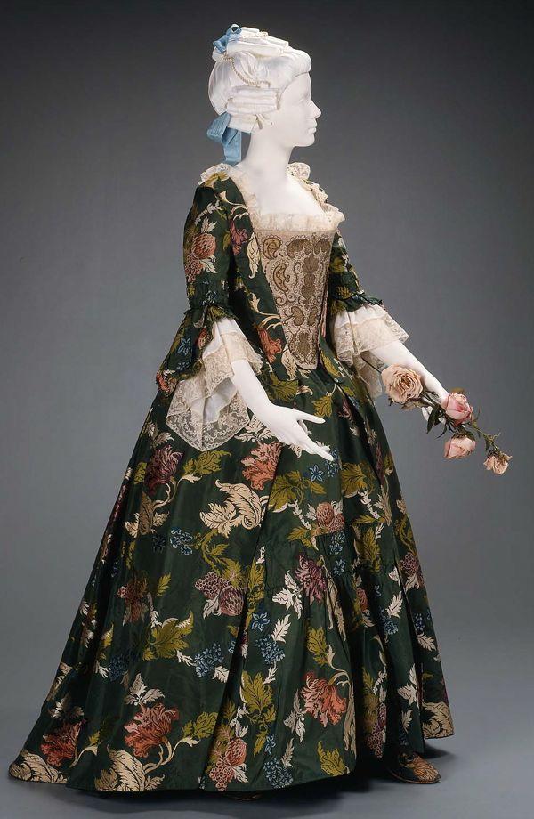 Dress (robe a la anglaise) about 1735, restyled 1763, Silk; brocaded plain weave 1990.513a-b, MFA Boston