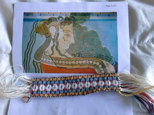 Hvitr,  woven band taken from afresco from Tyrins, 13th century BCE