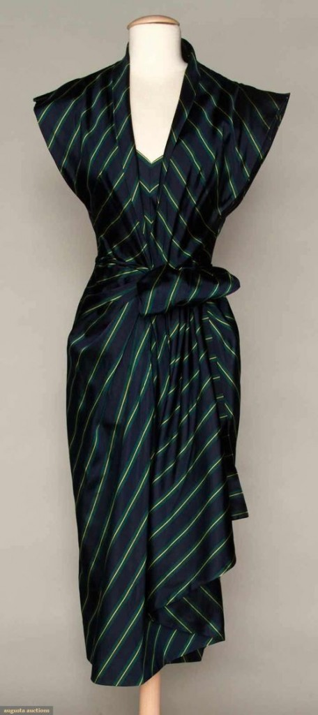 Dinner dress of ribbed navy, green & yellow striped silk, Patullo-Jo Copeland, 1940s, sold by Augusta Auctions