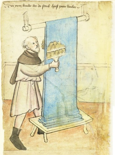 Mendel Hausbuch, f. 6v, c. 1425, Peter Berber, Carder brushing woollen cloth with teasel heads