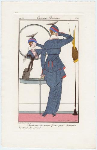 Costume de serge fine garni de petits boutons de corail, plate 157 from Journal des Dames et des Modes, 1914