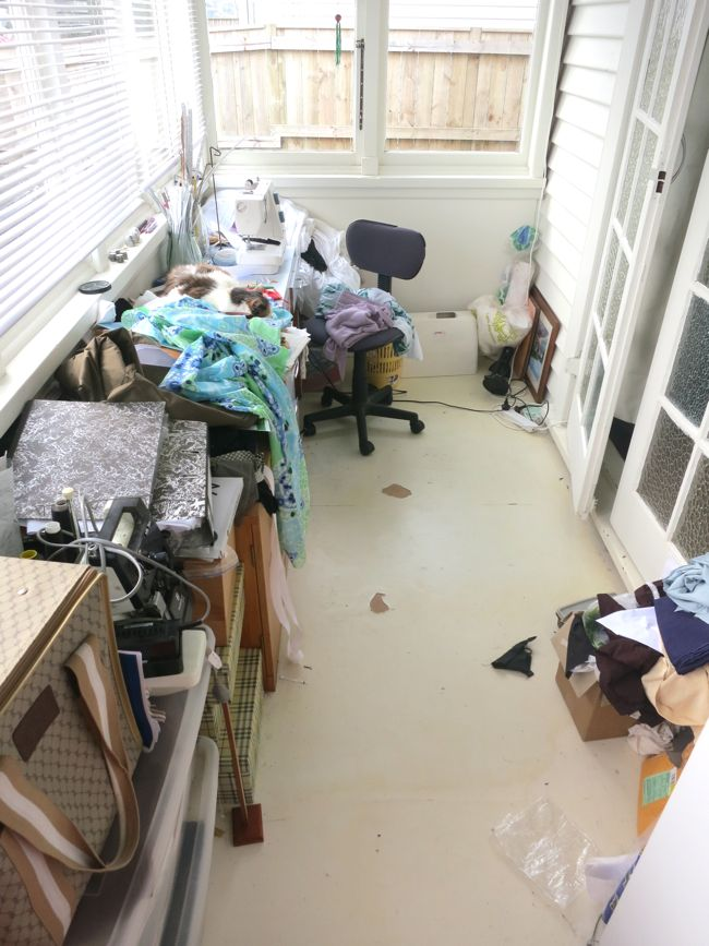 My messy sewing space, thedreamstress.com