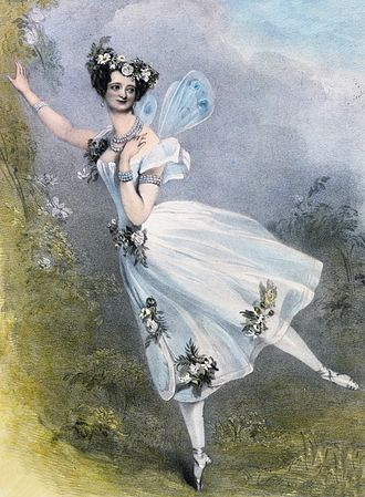 Marie Taglioni as Flora in Didelot's Zéphire et Flore. London, 1831, Lithograph by Chalon and Lane.  Victoria and Albert Museum, Sergeyev Collection