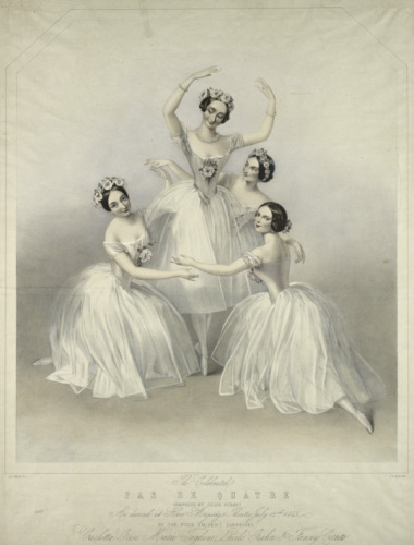 Lucile Grahn, Carlotta Grisi, and Fanny Cerrito surround Marie Taglioni in Jules Perrot's Pas de Quatre, Lithograph by T. H. Maguire from a drawing by A. E. Chalon, London, 1845