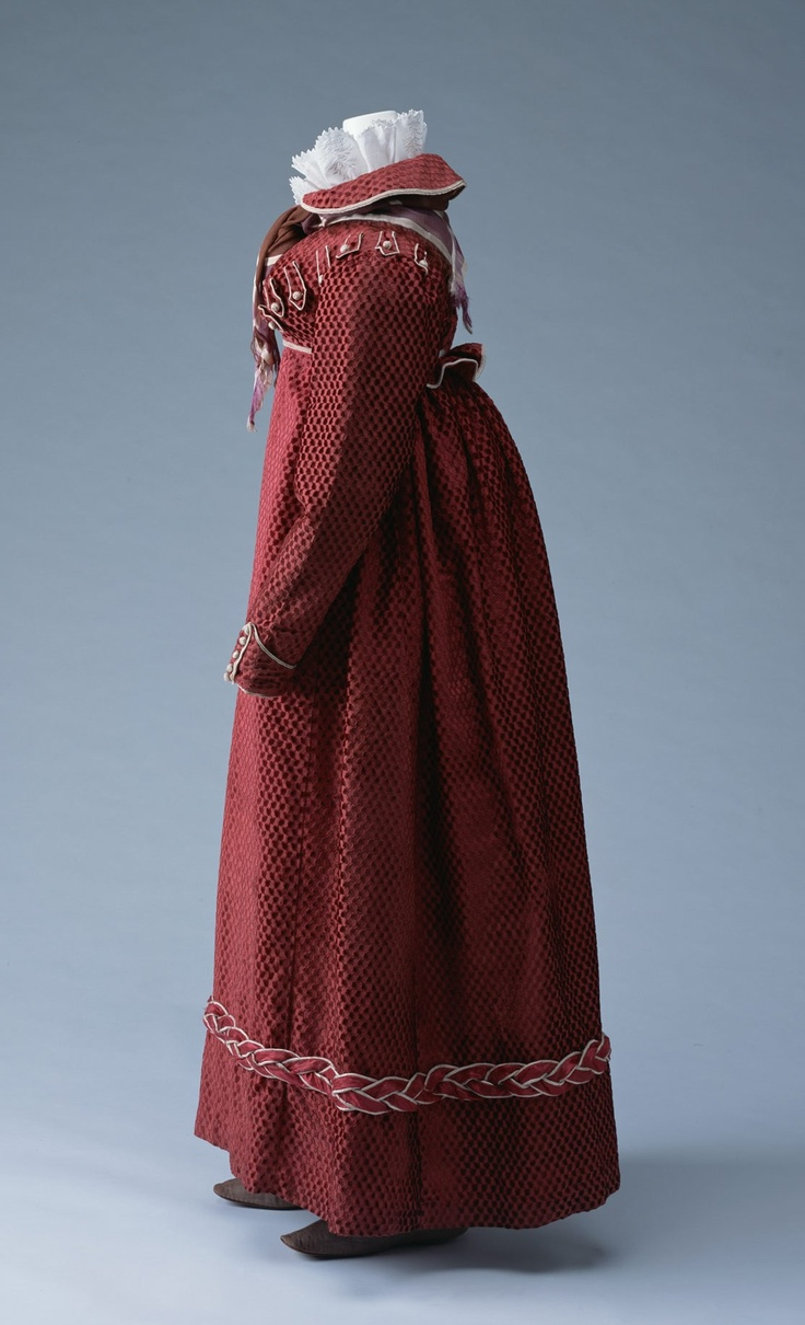 Spencer, Underbodice and Skirt- ca. 1815, Spencer and skirt cut velvet with piping and wrapped buttons in hussar style, silk satin underbodice.  KCI AC3145 80-5-36AC