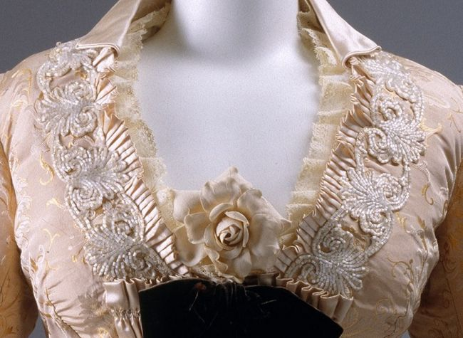 Dinner dress, Mon. Vignon, 1875, French, silk, glass, Metropolitan Museum of Art, C.I.69.14.12a,b