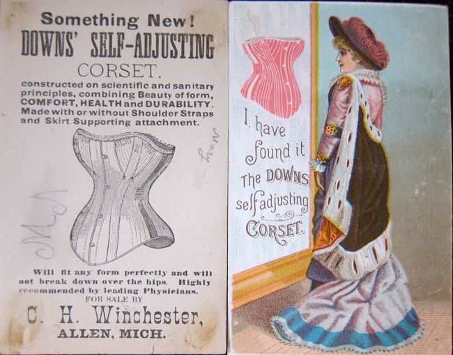 'Downs self adjusting corset' 1880s advertising cards thedreamstress.com