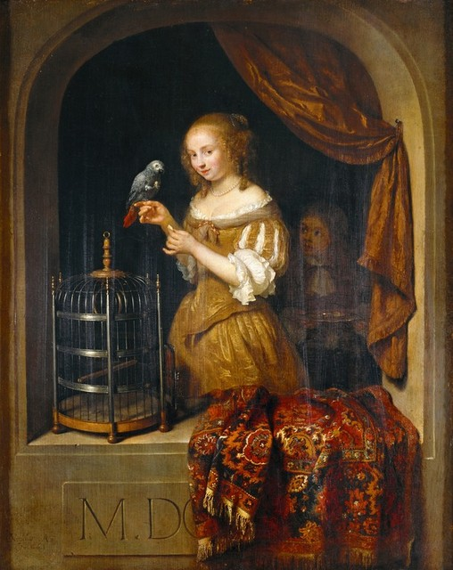 Caspar Netscher (circa 1639–1684), Lady at the Window, 1666, Von der Heydt-Museum