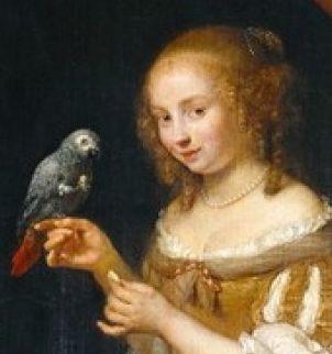 Caspar Netscher (circa 1639–1684), Lady at the Window, 1666, Von der Heydt-Museum (detail)