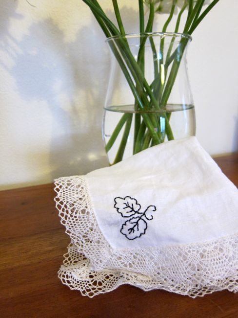 Embroidered handkerchief thedreamstress.com